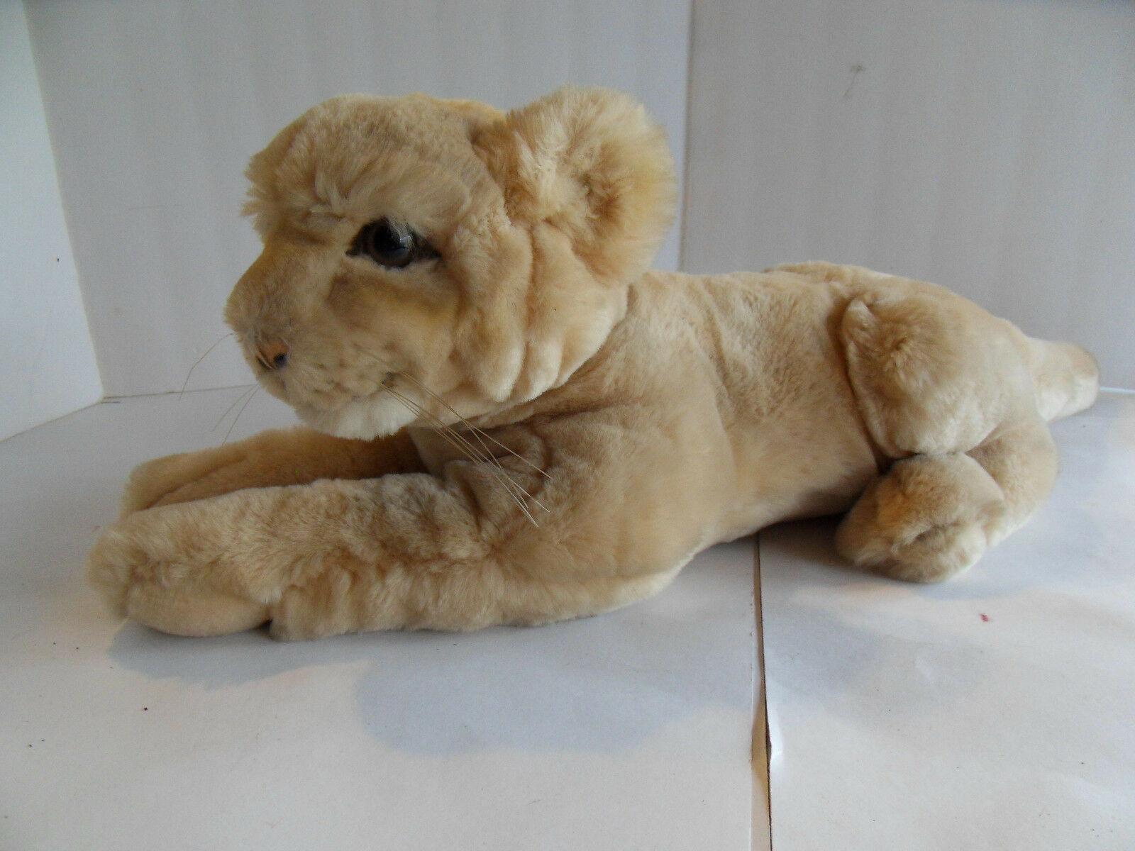 Steiff lion cub puma panther with button stuffed animal made in   Germany 1698