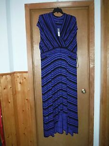 Sleeveless Maxi Dress Plus size 3X Royal Blue Black Striped Elastic ...