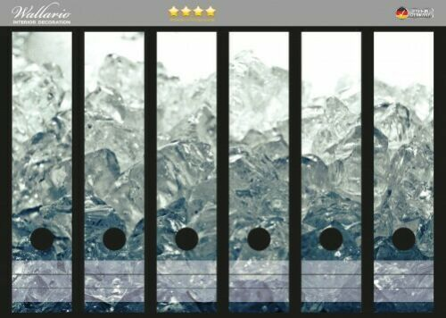 Wallario Ordnerrücken selbstklebend 6 breite Ordner Leuchtendes Eis schwarz weiß