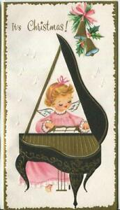 VINTAGE-CHRISTMAS-PINK-ANGEL-CHERUB-PIANO-BELL-HOLLY-GOLD-EMBOSSED-GREETING-CARD