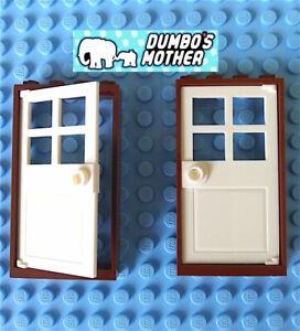 LEGO Door Frames 1x4x6 Red with Clear Door /& Door Knob House Home NEW X2