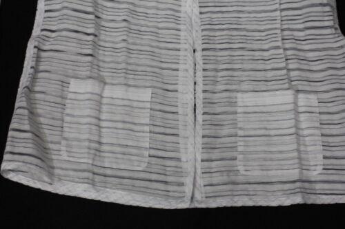 Striped 10 Creek Sheer b108 Coldwater Down Button White Shirt Size Womens qzECS7wxg