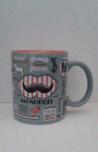 Hasbro-Monopoly-Mustache-12-oz-Coffee-Tea-Gray-Orange-Stoneware-2015-Mug-Cup