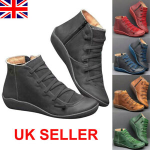 uk womens winter arch support ankle boots ladies lace up