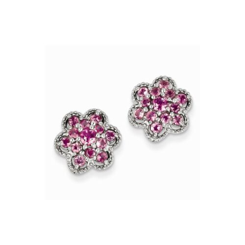 Details about  /.925 Sterling Silver Pink-Tourmaline Flower Post Stud Earrings MSRP $319