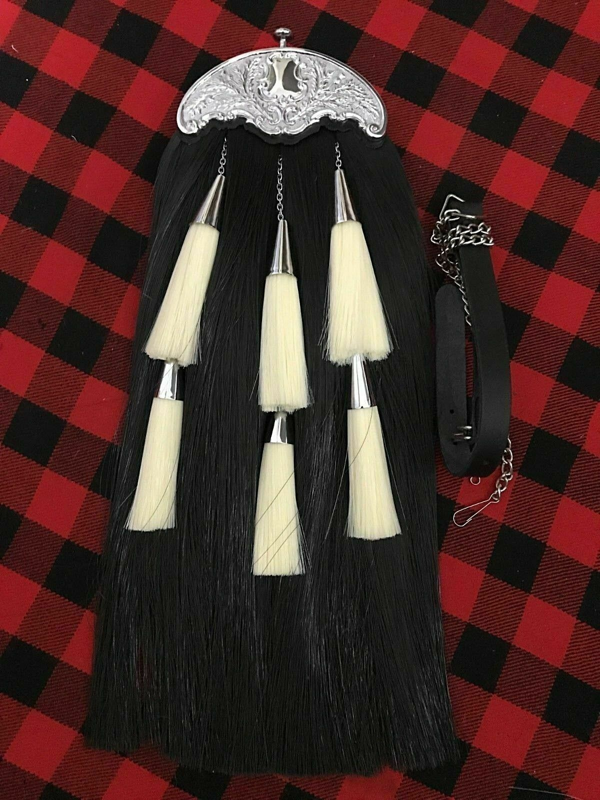 Scottish Kilt Sporran Horse Hair Black Thistle Cantle Chrome/Piper Kilt Sporrans