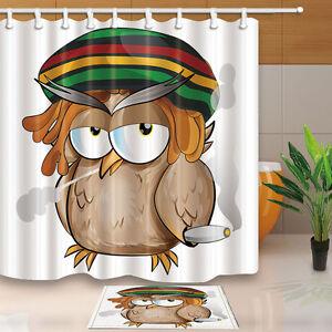 Cartoon Owl Bathroom Decor Polyester Fabric Shower Curtain
