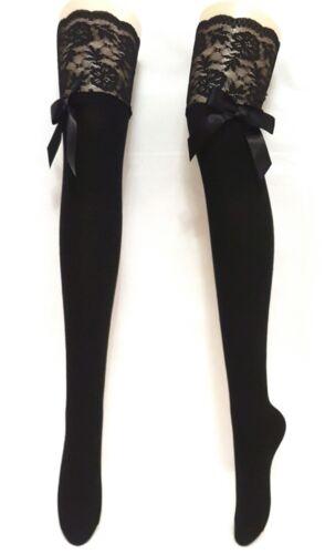 Noir Cuissardes Femmes Hold Up Bas Chaussettes Cuisse Haute Avec Dentelle /& Ruban