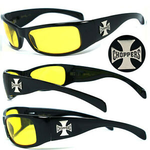 Choppers-Men-Motorcycle-Biker-Sunglasses-Yellow-C11-B