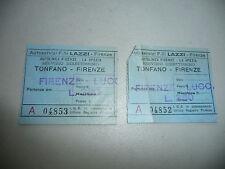 LOT OF 2  ITALY ITALIAN BUS TICKET TONFANO FIRENZE FLORENCE 1953