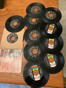 Webb-Pierce-Country-Star-Lot-of-Eleven-45-RPM-Records-Decca-Label