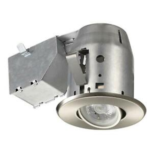 Details About Commercial Electric 3 In Brushed Nickel Led Swivel Trim Recessed Lighting Kit