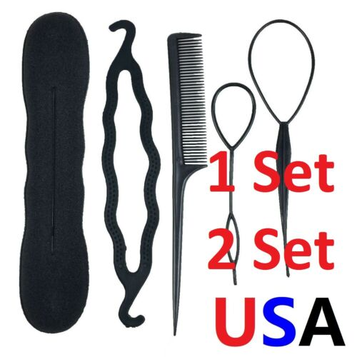 Hair Styling Tools Bun Maker Topsy Tail Braid Ponytail Maker Comb DIY