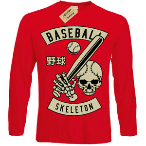 Baseball-Skull-T-Shirt-player-skeleton-t-shirt-Mens-Long-Sleeve
