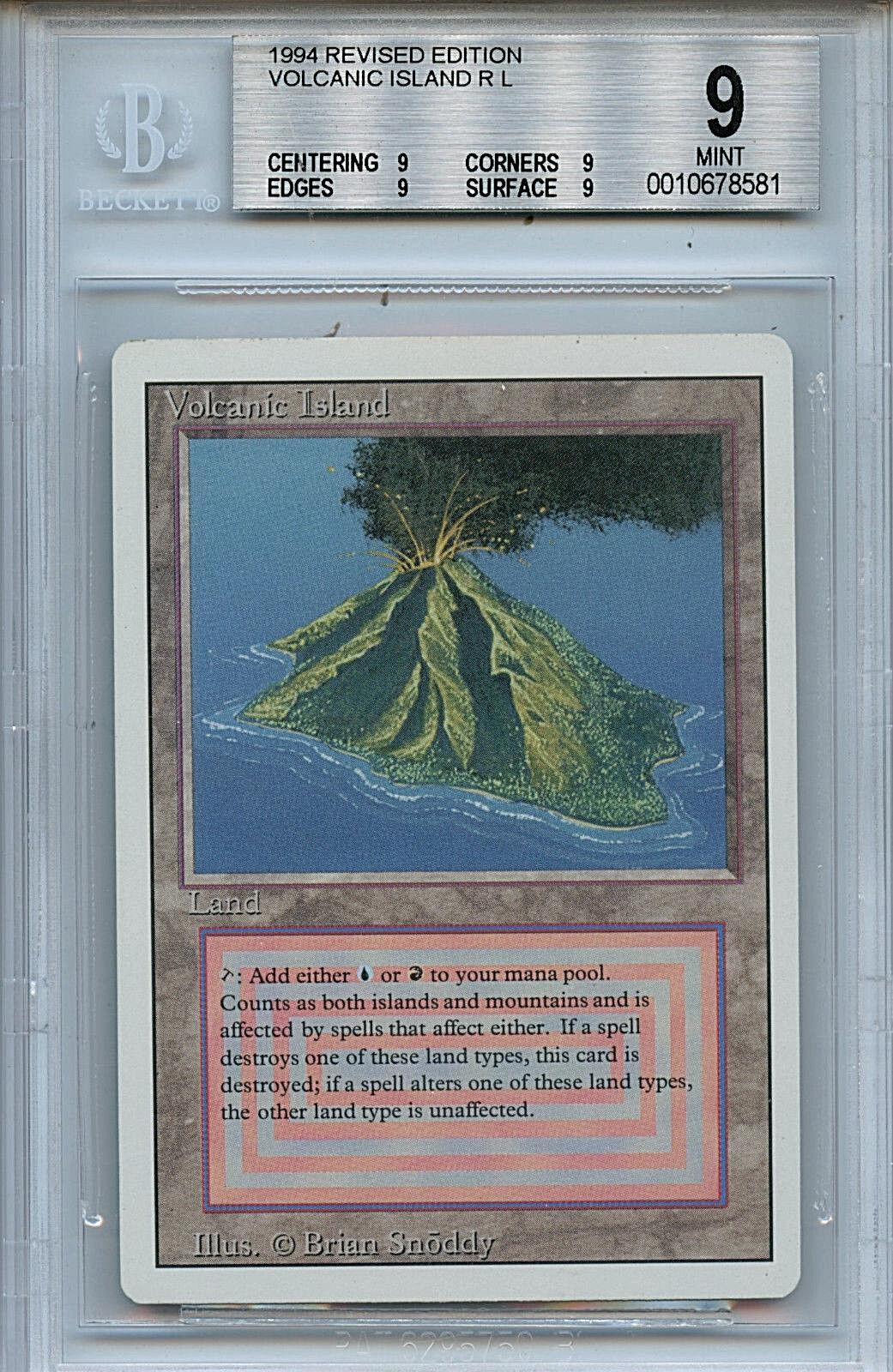 MTG Revised Dual Land Volcanic Island BGS 9.0 (9) Mint Magic Card Quad 9's 8581