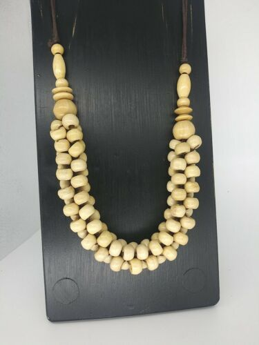 Red Black Round Coco Wood Bead Statement Necklace 24 Long Eco Coco Beaded Natural Women/'s Jewelry
