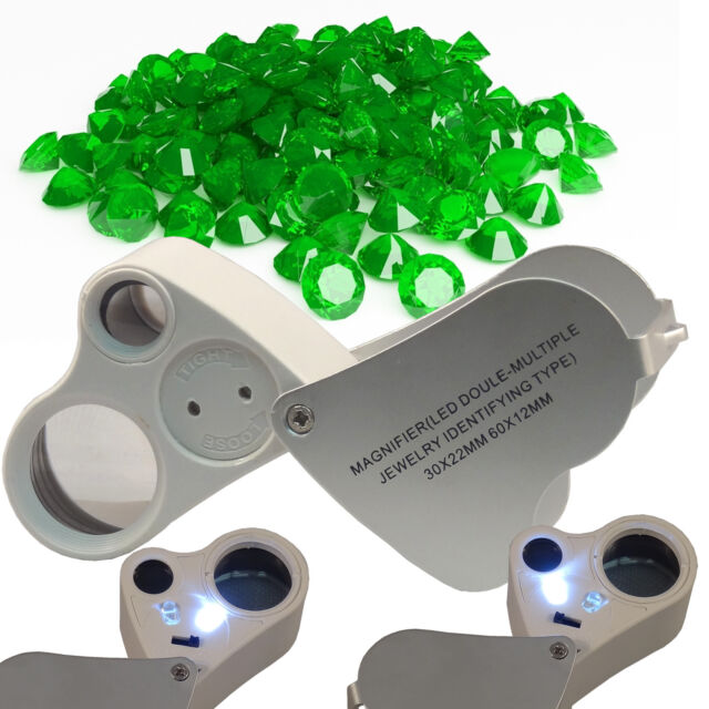 Double Magnifier Hand Lens Jewelry Eye Loupe LED 30X 22mm /& 60X 12 Coin Stamp