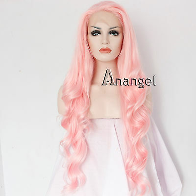 Women's Full Wigs Pink Long Wavy Synthetic Lace Front Wig Hair Heat Resistant