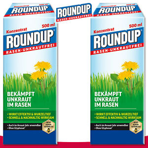 Roundup-Rasen-Unkrautfrei-2x-500-ml-Konzentrat-Klee-Bekaempfung-Ampfer-Quecke