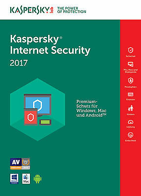 Kaspersky Internet Security 2017 ( 1PC, 2PC, 3PC, 5PC,10PC / Geräte | 1/2 Jahr )