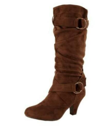 Womens Suede Pointy Toe Retro Mid Calf Boots Chunky High Heel Shoes Sz35-43