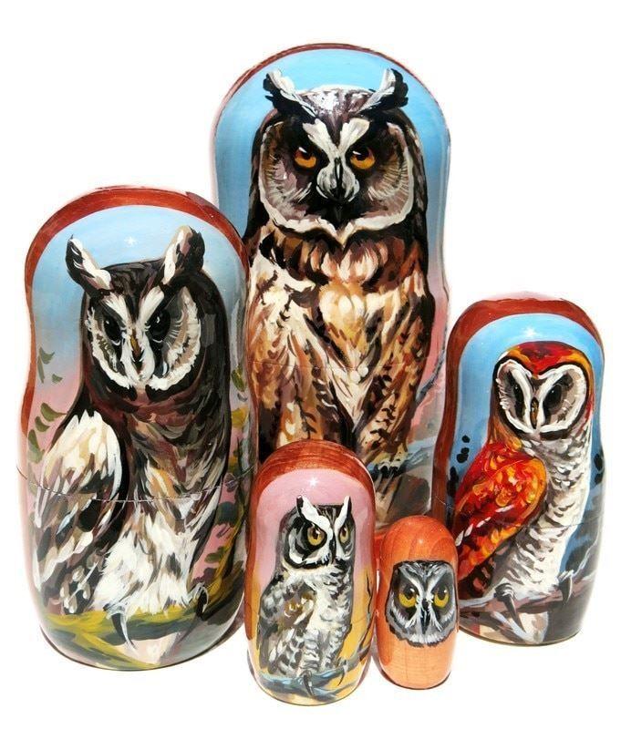 Owls 5-PC Realistic Painted Portrait Russian Babushka Animal Nesting Doll Set 1
