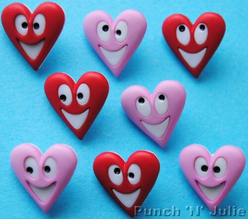 Valentine/'s Day Faces Pink Red Novelty Dress It Up Craft Buttons HAPPY HEARTS