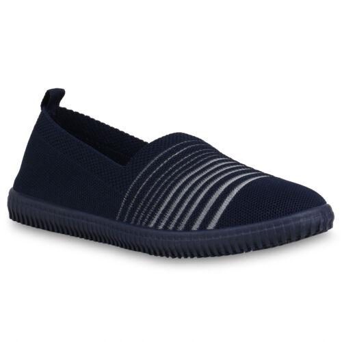 Damen Slippers Slip Ons Strick Freizeit Schuhe Sneaker Stoff Flats 821439 Mode