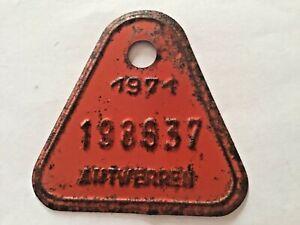 Vintage Belgian Bicycle License Plate 1971.