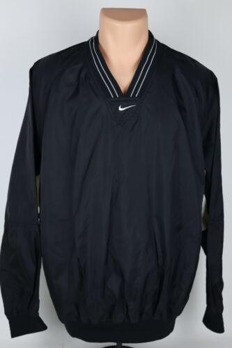 Vintage Nike Mens Large Black/White Nylon V-Neck P