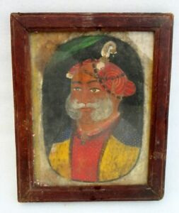 Antique-Old-Rare-Hand-Painted-Indian-Mughal-King-Miniature-Fine-Oil-Painting
