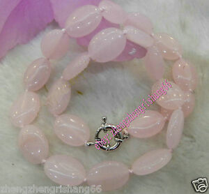 Natural-Egg-shaped-13x18mm-Pink-Rose-Quartz-Gems-Oval-Beads-Necklace-18-034