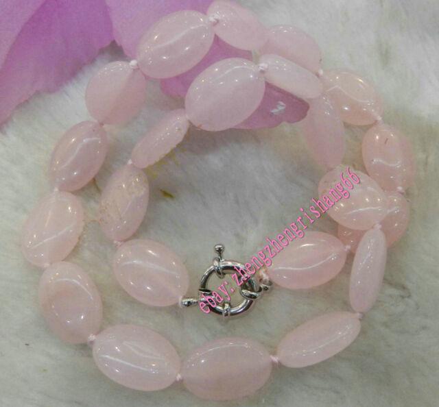 "Natural Egg-shaped 13x18mm Pink Rose Quartz Gems Oval Beads Necklace 18"""