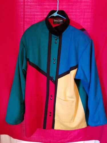 Vintage Steve Evans Women's Color Blocked Wool Coat by Steve Evans