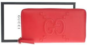 NEW-GUCCI-RED-LEATHER-GG-EMBOSSED-LONG-ZIP-AROUND-CLUTCH-WALLET-W-BOX