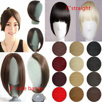 New straight Long Side Fringe Bangs Clip In Hair Extensions Real Synthetic Piece