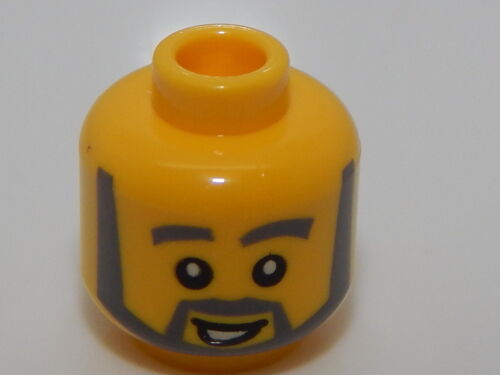 Lego Minifigure Head Gray Beard With Open Mouth Smile #29