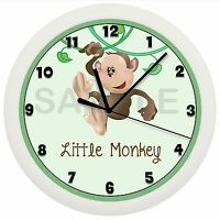 Monkey Nursery Wall Clock Blue Gift Personalized Decor Jungle Baby Shower Gift