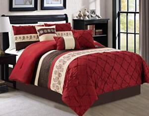 DCP 7-Piece Bedding Comforter Set Comfortable and Warm Burgundy King