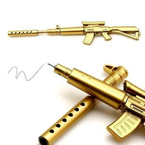 Creative-Novelty-Cool-Gold-Rifle-Black-Ballpoint-Ink-Pens-Stationery-Fun-Toy-C