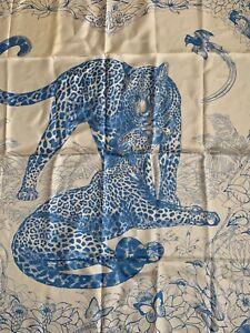 Authentic-Hermes-Silk-Scarf-Jungle-Love-ROBERT-DALLET-Carre-90cm-Blue-White
