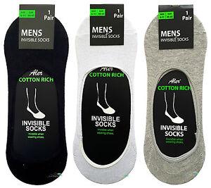 Confezione da 3 Soldi da Uomo Invisibile Trainer Pop Socks Calze Piedini Taglia 6-11 UK