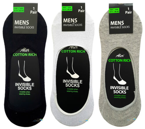 Men/'s Invisible Socks Summer Cotton Ankle Trainer Liners One Size UK 6-11 New