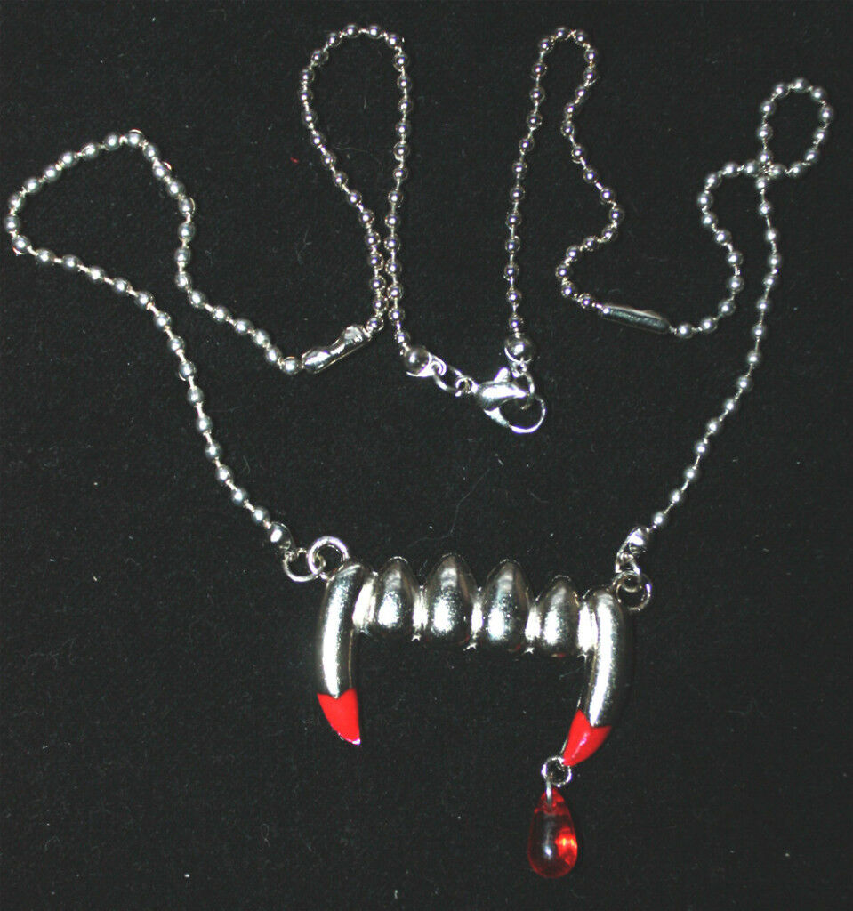 True Blood Drop VAMPIRE FANG BANGER PENDANT NECKLACE Gothic Costume Jewelry-LARG