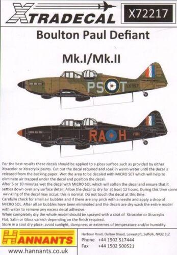 Xtradecal 1//72 Boulton-Paul Defiant Mk.Is # 72217