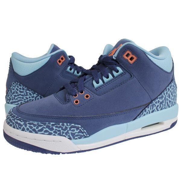Nike air jordan 3 lila staub blauen blauen blauen zement elefanten weiße atomic rosa sz 9,5 155626