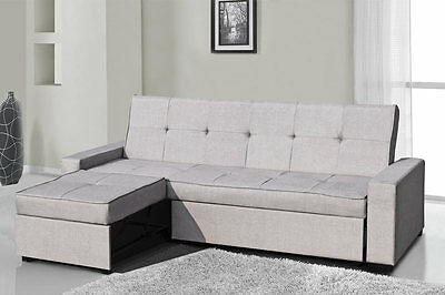 Modern 3 Seater L Shaped Corner Sofa Bed Black Faux Leather / Grey Fabric