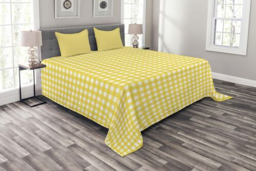 Retro English Yellow Print Checkered Quilted Bedspread /& Pillow Shams Set