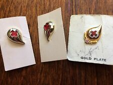 3 Vintage Red Cross BLOOD DONOR PIN 4 Gallon and no number gold plated