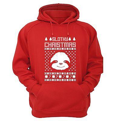 Sloth Ugly Christmas Sweater.Slothy Cute Sloth Winter Animals Tree Ugly Christmas Sweater Feliz Funny Hoodie Ebay